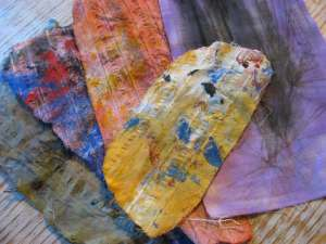 Fabric scraps that were used to absorb or wipe paint at my mixed media work table